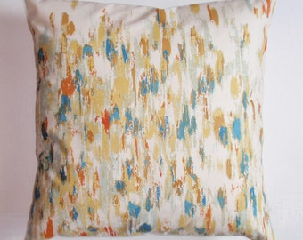 "Throw Pillow Cover, Vintage Multi-color Fabric Pillow Cover, Blue - Gold - Cream & Orange Abstract Fabric Circa 1960's-1970's, 16x16"" Square"