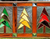 Jeweled Pines Stained Glass Panel