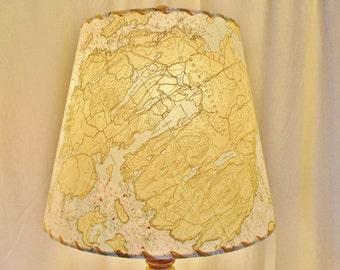 Map Lampshade, Maine Ocean Chart, Nautical Beach Lighting, Custom MapShade, Mount Desert Island NOAA Chart Lampshade, Acadia National Park