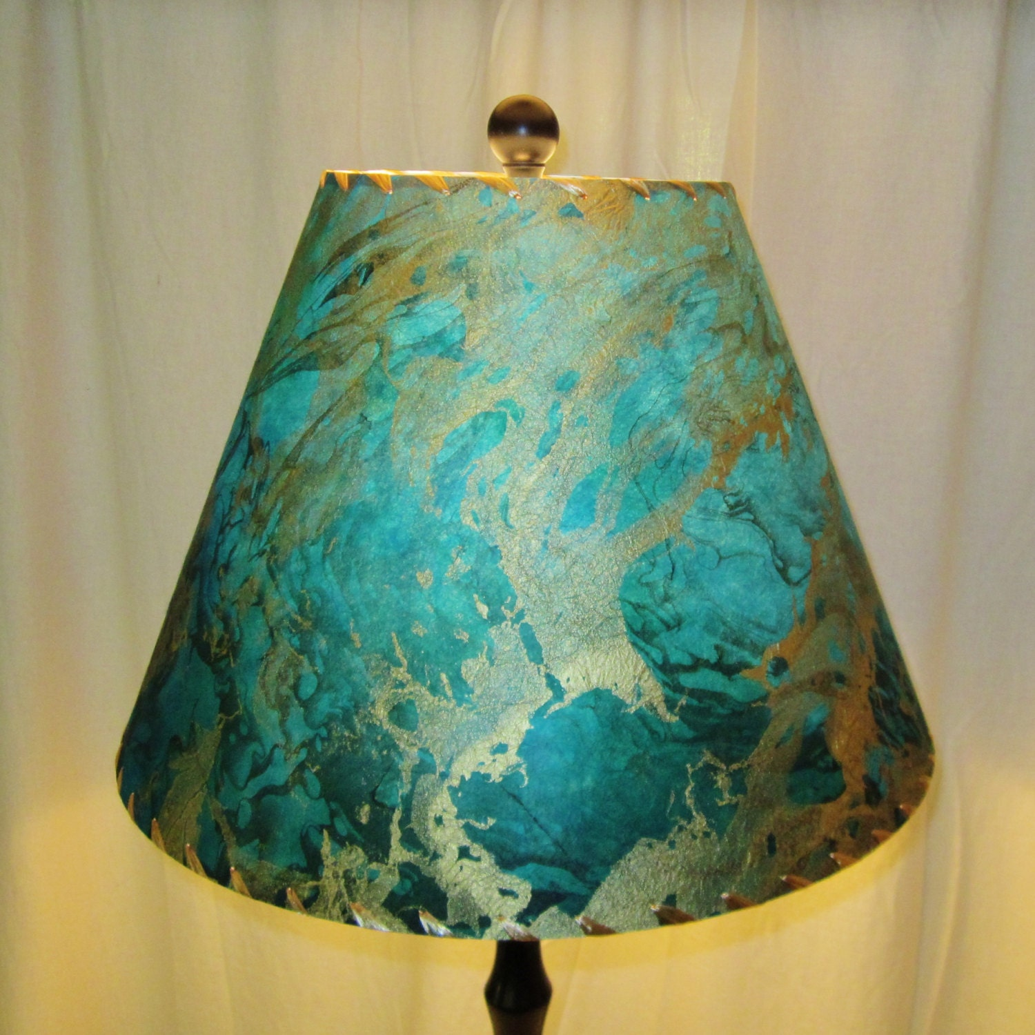 Lamp Shade Blue Marbled Paper Tree Free By Botanicallampshades