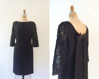 1960s dress / vintage party dress / Watteau Lace dress