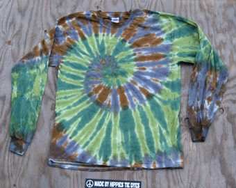 Camo Spiral with Pink Dots Tie Dye T-shirt (Gildan Ultra Cotton Longsleeve Size L)(One of a Kind)