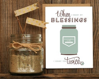 Count My Blessings Letterpress Greeting Card