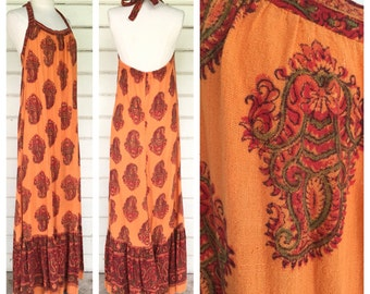 vintage Tangerine dream 70s India BATIK halter dress