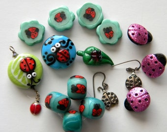 Destash Ladybug Collection, Polymer Clay, Lampwork Beads, Ladybug Earrings. Ladybug Buttons, Ladybug Charm Red Green Blue