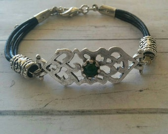 Black Leather Bracelet for Women// Silver Fretwork Connector with Green Jade Stone// Tibetan Beaded Bracelet Bohemian Jewelry// Gift for Her