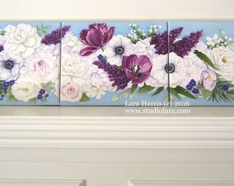 CUSTOM Floral Triptych Painting in Oil by Lara Harris 24x30...3 separate 8x10 panels