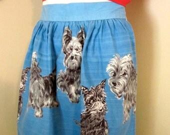 Vintage Apron/ Half Apron/ Terrier Print on Blue / Puppy Apron/ 50's Kitsch/ Collectible/Yorkies /Terriers/Dogs/Vintage Textile