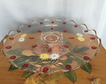 Glass Cake Stand Vintage Pedestal Platter Salloped Edge Pink Red Dot Gold Floral White Yellow Daisies