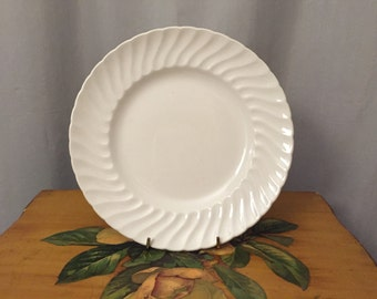 White Plate Vintage Made in England Replacement White Ironstone Dinner Plate Royal Wessex by Swinnertons