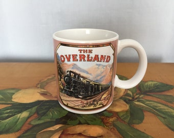 Train Mug Overland Engine Cigar Label 1900 Vintage White Ceramic Coffee Cup