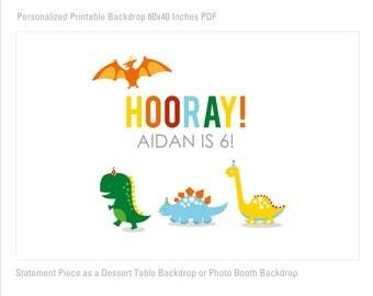 Dino Parade Birthday Printable Banner Backdrop 60x40 inches, Dinosaur Party Backdrop, Dinosaur Poster, HIGH RESOLUTION FILE