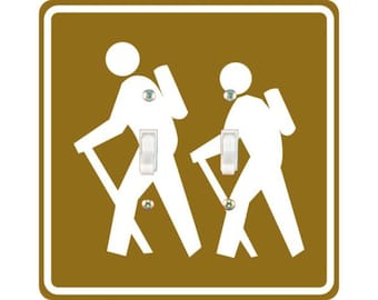 Hiking Road Sign Square Double Toggle Light Switch Plate Cover