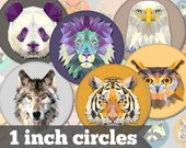 Animals - 1 Inch Circles - 12 Unique Images - Digital Collage Sheet - Jewelry Supply, Cabochon, Bottle Caps - INSTANT DOWNLOAD