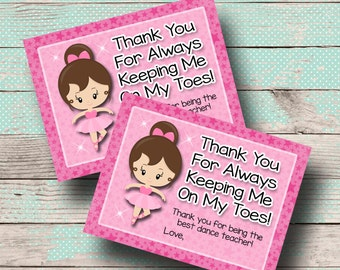 Thank You For Always Keeping Me On My Toes- Dance teacher instructor gift tag- 4x3