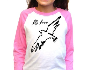 Girls Baseball Tee - Bird In Flight Design - Fly Free - Available in S, M, L, XL - 5yo, 6yo, 7yo, 8yo, 9yo, 10, yo, 11yo, 12yo