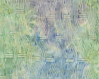 Green Blue Purple Basket Weave Batik Fabric - Timeless Treasures - B3799 - Oceana