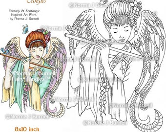 Angel Fairy Tangles Adult Printable Coloring Book Pages by