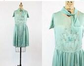 SALE 20s Silk Flapper Dress XS / 1920s Vintage Beaded Teal Dress / Under the Sea Dress