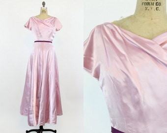 50s Dress Emma Domb Small / 1950s Vintage Satin Wrap Gown / Thistles and Rosemary Dress