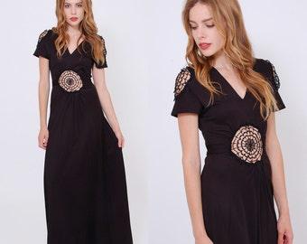 Vintage 70s Cut Out Dress Crochet DREAMCATCHER Lace Maxi Dress Black Boho Dress