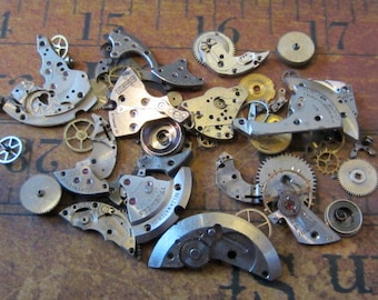 Vintage WATCH PARTS gears - Steampunk parts - E7 Listing is for all the watch parts seen in photos