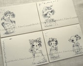 """Litchfield Hill Notepaper CREAM COLOR Stationery by Michelle L. Palmer 4.25"""" x 5.5"""" Dottie Ragdoll and Friends Rag Doll Anne Annie Mouse"""