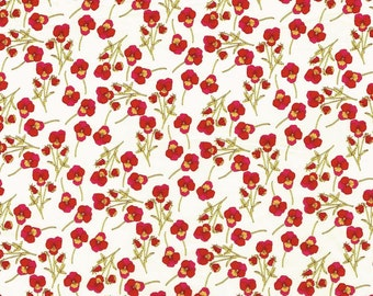 Liberty of London Tana Lawn Ros L Red Floral Pansies Fabric- Yard