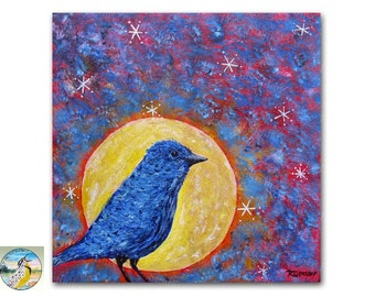 Modern Blue Bird Painting 8x8 Fine Art Acrylic on Canvas Contemporary Bird and Moon Painting Colorful Wall Decor Original Art Under 100