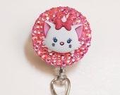 Disney's Marie Sparkly Tsum Tsum ID Badge Reel - Retractable ID Badge Holder - Zipperedheart