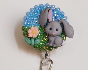 Cute Baby Bunny ID Badge Reel - Retractable ID Badge Holder - Zipperedheart