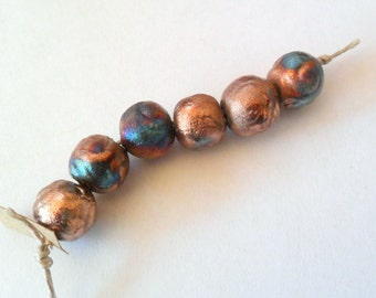 12.5-13mm Round Raku Fired Clay Beads - Set of 6