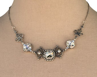 Vintage Filigree Antique Silvertone Crystal Necklace, Crystal Statement Necklace with Crystals from Swarovski