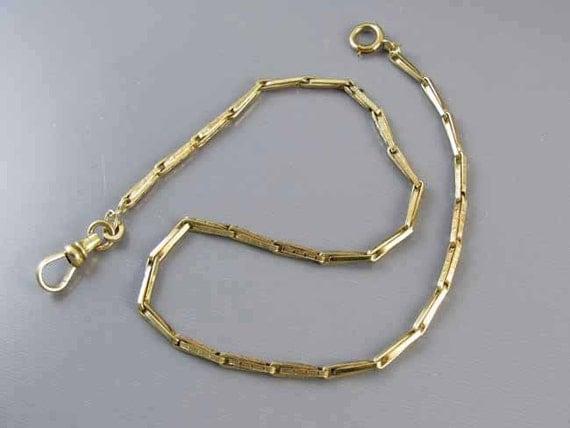 Vintage Art Deco green gold filled pocket watch chain signed A&Z (Hayward) j335