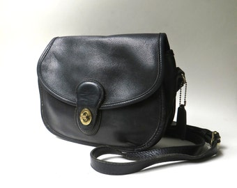 90s vintage Coach Prairie Bag / Coach Black Leather Cross Body Bag / Coach 9954 / Made in the U.S.A.