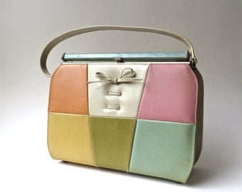 60s vintage Mod Pastel Color Block Simulated Leather Handbag / Air Step Handbag