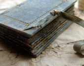 Oceanic Dreaming - Vintage Blue Linen Journal, Rusted Blue Pages - OOAK