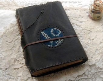 Indigo Dreaming - Dark Brown Leather Journal, Tea-Stained Pages, Shibori Fabric - OOAK