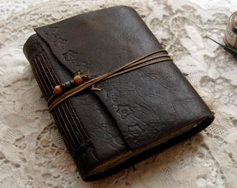 Sea Searching - Dark Brown Leather Journal, Blue & Tea Stained Pages - OOAK