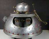 SPACE INVADERS Flying Saucer  Found Object  Robot Sculpture Assemblage Metal