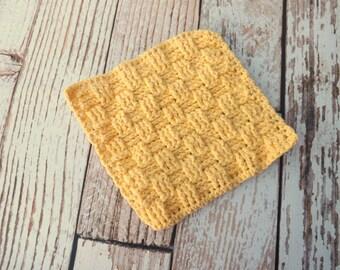 Yellow Cotton Dishcloth - 100% cotton dishcloth - textured yellow cotton washcloth - yellow dishrag - washrag - housewarming gift
