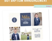 LDS Baptism Invitation, Great to be 8, Boys Baptism Announcement, Photoshop File, customization available read in description