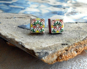 Portugal Antique Azulejo Tile Replica STUD POST EARRINGS  Art Nouveau Pink - Lisbon and Braga Gift Box Included