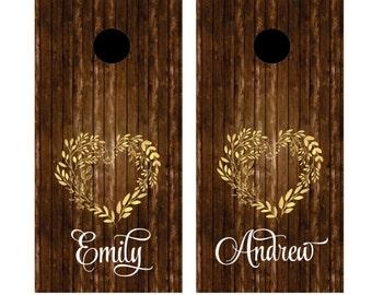 Wedding decals, cornhole board set, yard game sticker set, personalized name, bride and groom, cornhole sticker, heart wreath decal, rustic