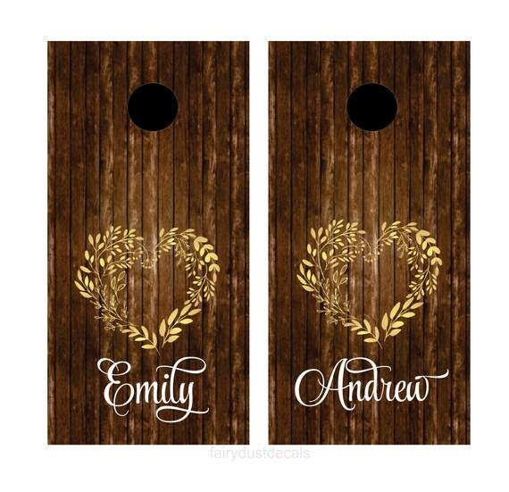 Wedding Decals Cornhole Board Set Yard Game Sticker Set