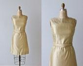Gold Lame 1960s Wiggle Dress / Sheath Dress / Belted / Galaxies