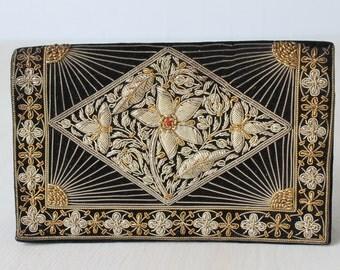 Indian Zardozi Evening Handbag Clutch Purse /Evening Purse / Silver and Gold