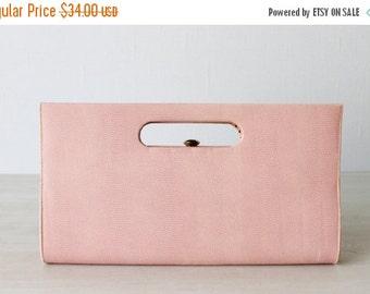 SALE Pink Purse / Clutch / Vinyl / Frame Handbag