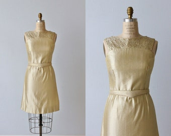 Gold Lame 1960s Wiggle Dress / Sheath Dress / Belted / Galaxies