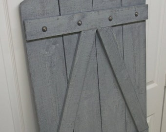 French Chateau Inspired Arch-Top Grey Painted Farmhouse Shutter - Shabby Chic Farmhouse